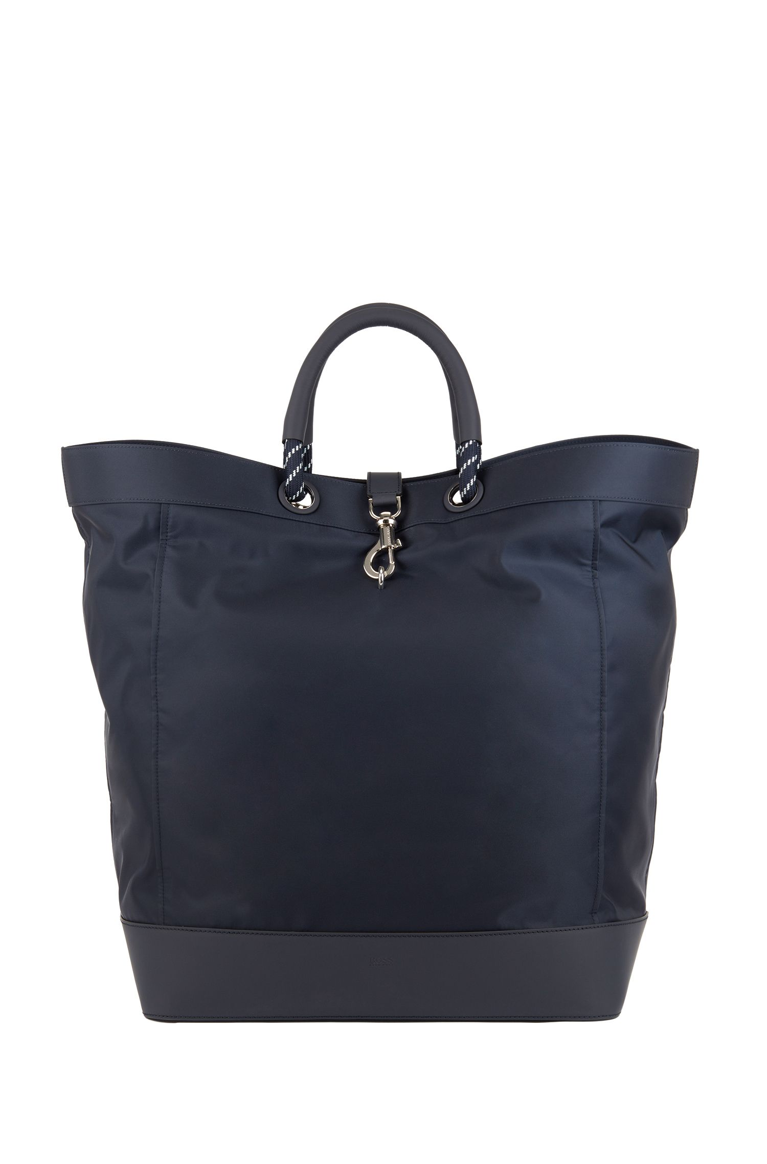 Tote bag with trigger-hook closure, Bleu foncé