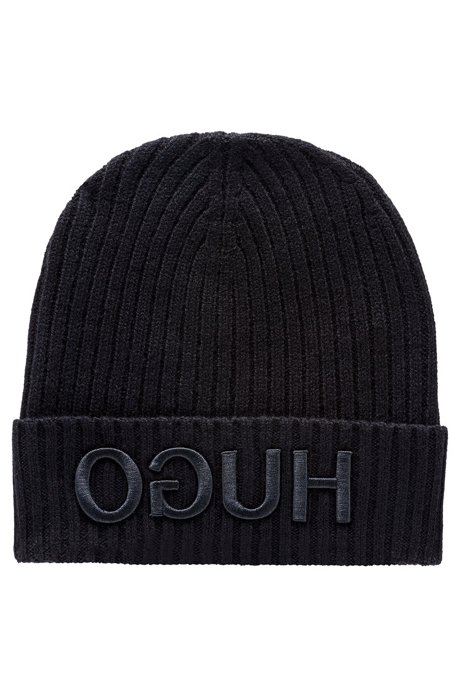 Wool beanie with turnback hem and reversed logo, Black