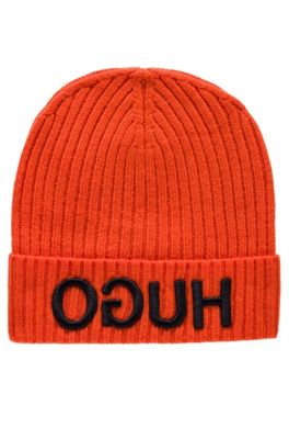 Wool beanie with turnback hem and reversed logo, Orange
