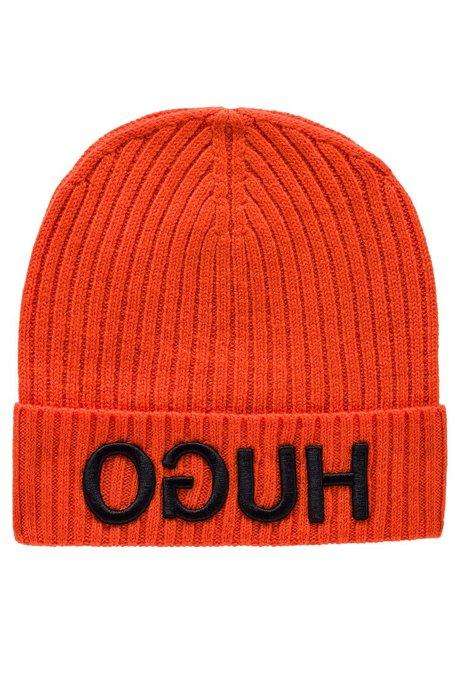 Wollmütze mit umgeschlagenem Saum und Reversed-Logo, Orange