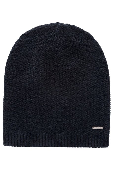 Knitted beanie in pure cashmere with signature hardware, Black