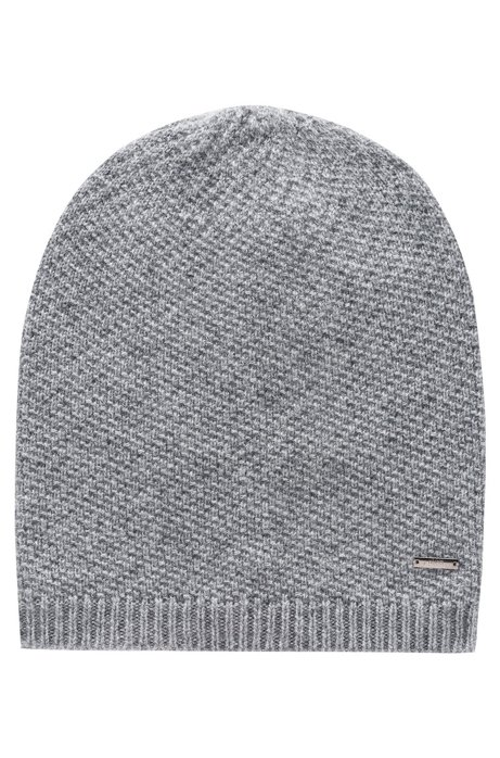 Knitted beanie in pure cashmere with signature hardware, Grey