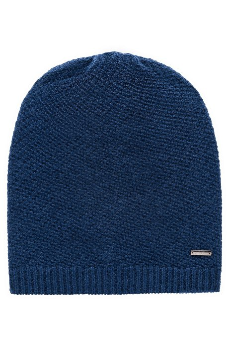 Knitted beanie in pure cashmere with signature hardware, Dark Blue