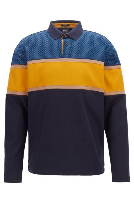 Poloshirt aus Baumwolle mit Liquid-Finish und Monogramm-Print, Dunkelblau