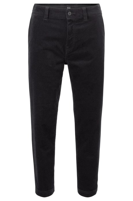 Pantalon court Tapered Fit en velours côtelé de coton stretch, Noir