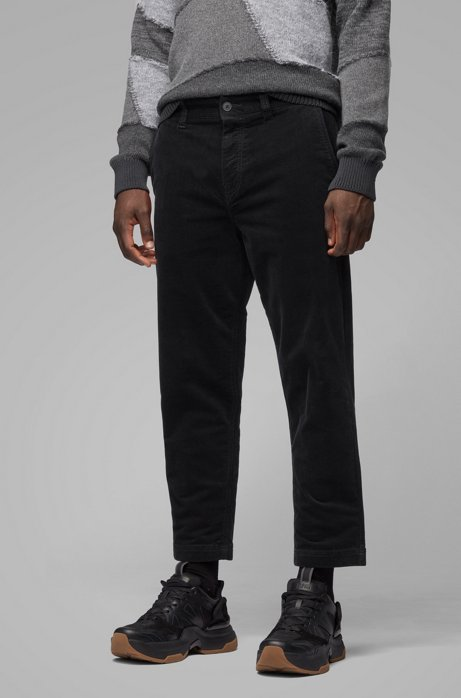 Cropped tapered-fit trousers in stretch-cotton corduroy, Black
