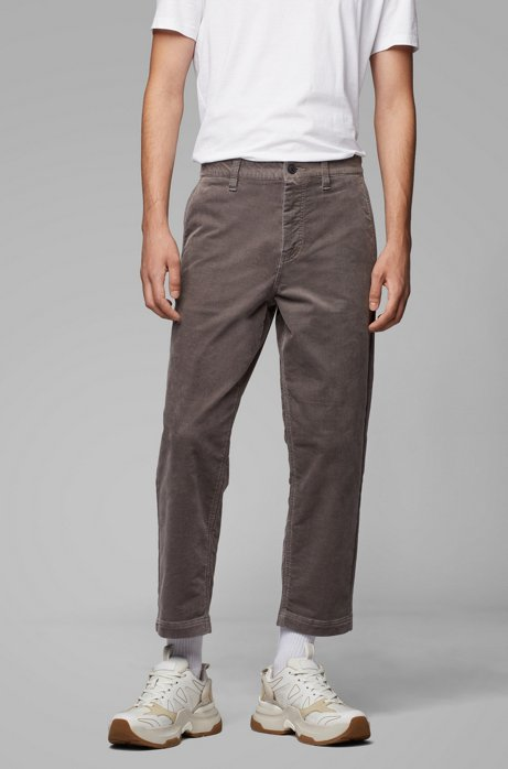Tapered-Fit Cord-Hose aus Stretch-Baumwolle in Cropped-Länge, Grau
