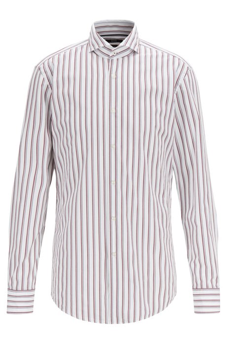 Slim-fit shirt with two-colour stripe, Dark Red