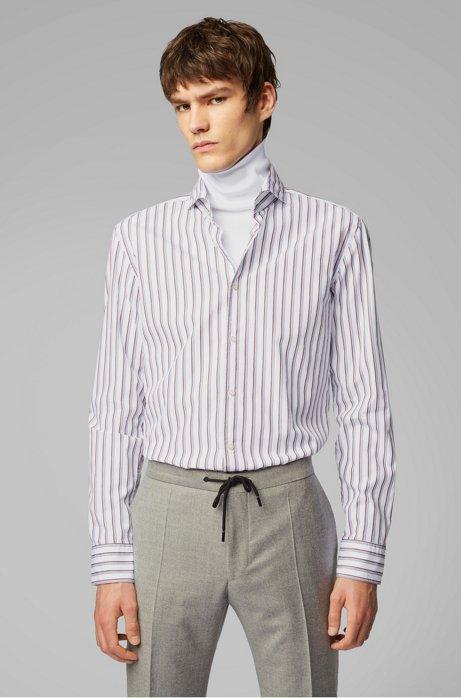 Slim-fit overhemd met tweekleurige streep, Donkerrood