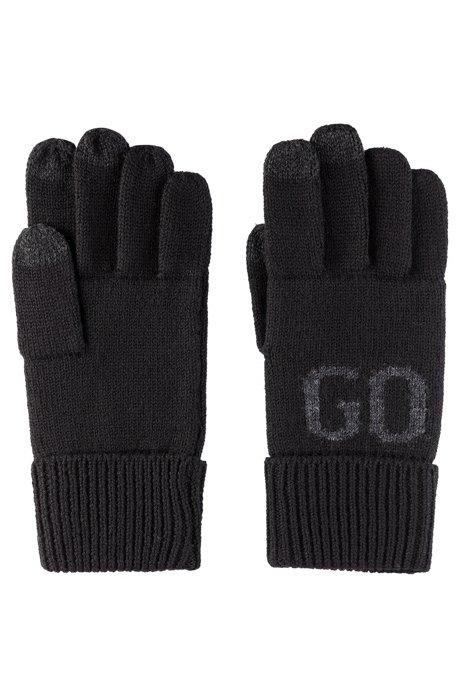 Gants pour écrans tactiles en laine mélangée à jacquard logo, Noir