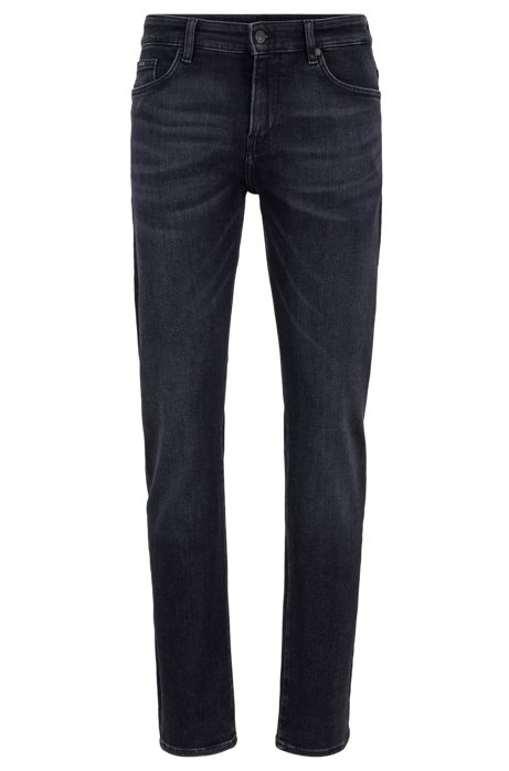 Slim-fit jeans in carbon-black Italian stretch denim, Anthracite