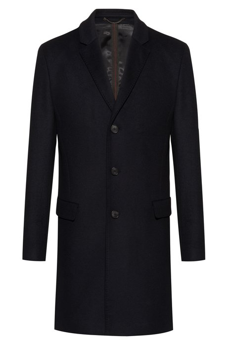 Slim-fit coat in a virgin-wool blend, Black