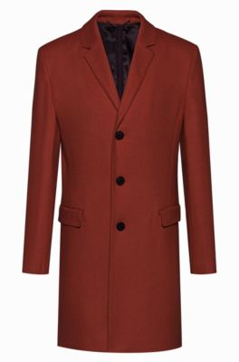 Slim-fit mantel van een scheerwolmix, Bruin
