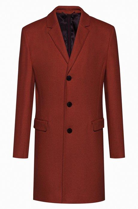 Slim-fit coat in a virgin-wool blend, Brown