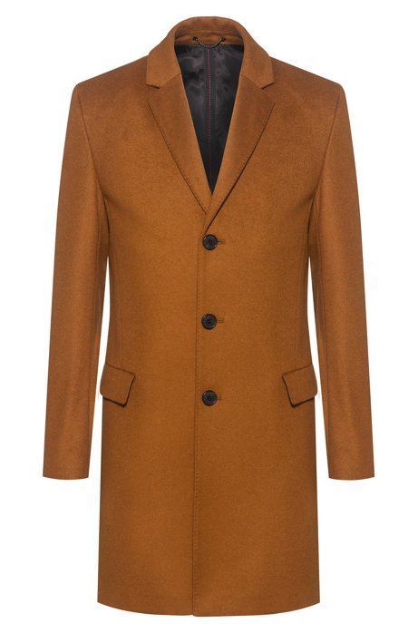 Slim-fit coat in a virgin-wool blend, Khaki