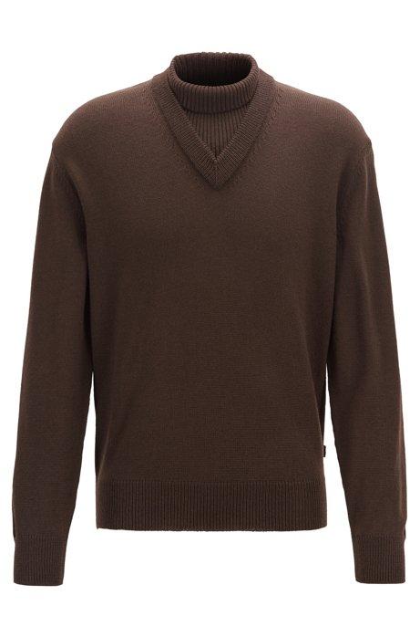 Regular-fit virgin-wool sweater with hybrid neckline, Dark Brown