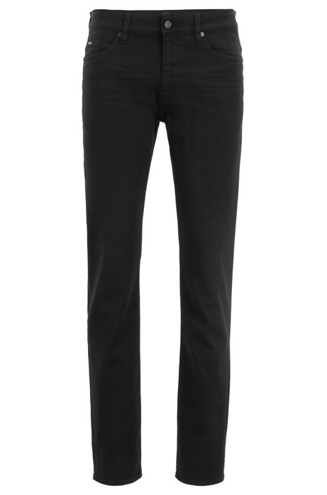 Jean Slim Fit en denim stretch teint très doux, Noir