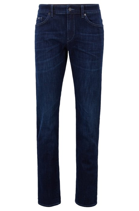 Slim-fit stretch-denim jeans with signature turn-ups, Blue
