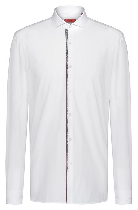 Extra-slim-fit cotton shirt with text-trimmed placket, White