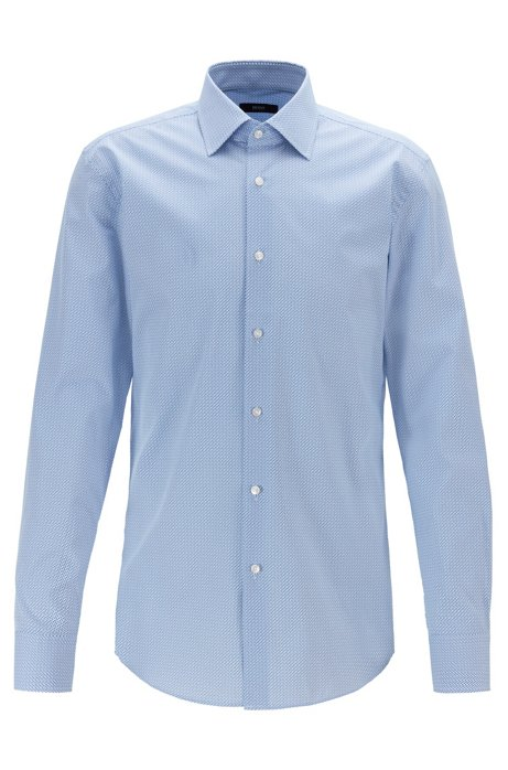 Slim-fit shirt in Italian cotton with geometric print, Light Blue