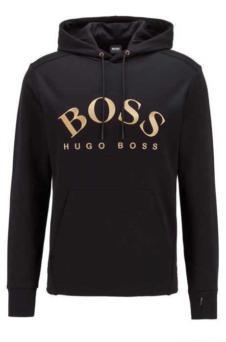Hooded sweatshirt with curved logo artwork and hidden pocket, Black