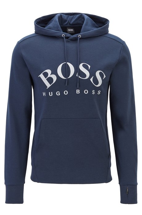 Hooded sweatshirt with curved logo artwork and hidden pocket, Dark Blue