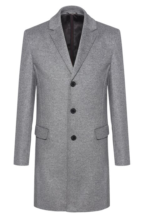 Slim-fit coat in a virgin-wool blend, Grey