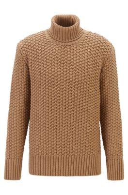 Maglione a collo alto in misto lana con lavorazione a trama grossa, Beige