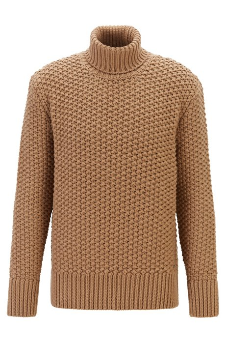 Wool-blend roll-neck sweater with chunky structure, Beige