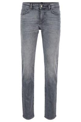Slim-Fit Jeans aus komfortablem italienischem Stretch-Denim, Grau