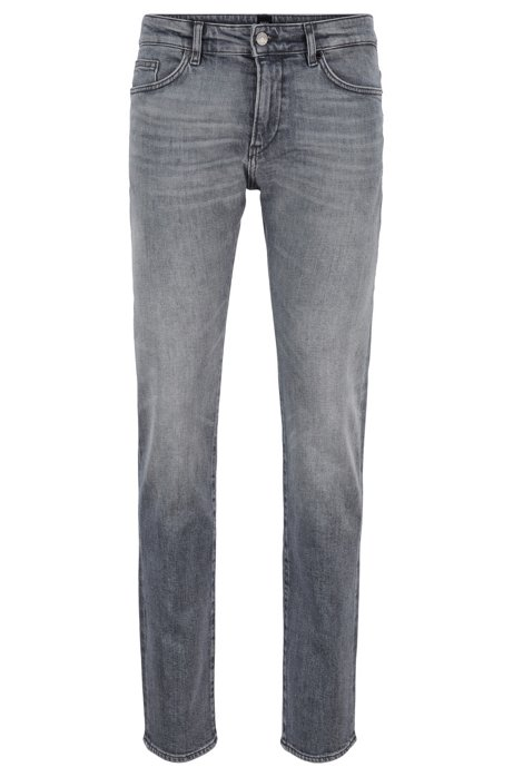 Jean Slim Fit en denim italien confortable grâce à la teneur en stretch, Gris