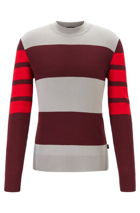 Slim-fit crew-neck sweater in pure cotton, Silver