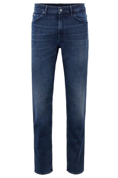 Tapered-fit jeans in indigo Italian stretch denim, Dark Blue