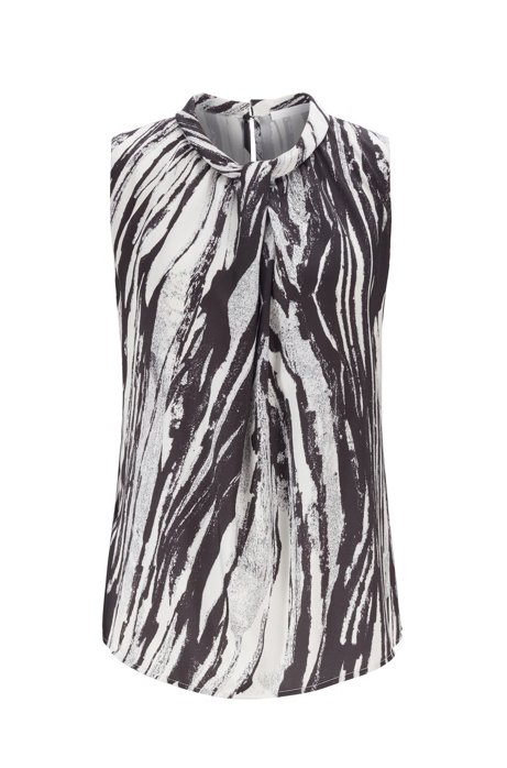 Sleeveless top in zebra-print Italian twill, Patterned