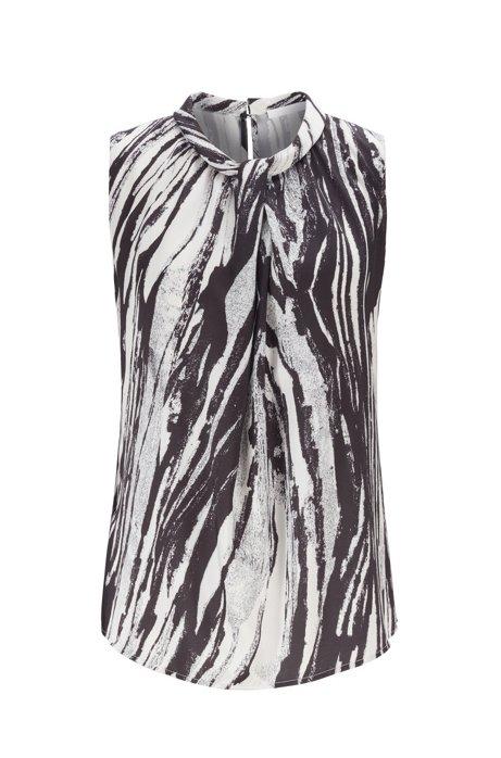 Ärmelloses Top aus italienischem Twill mit Zebra-Print, Gemustert