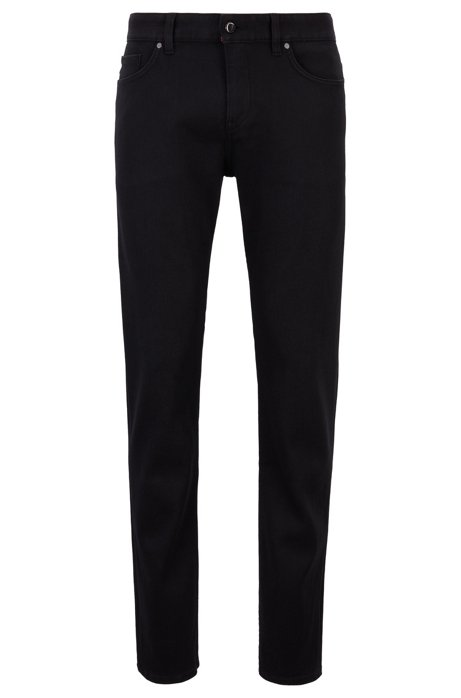 Slim-fit jeans in special-stretch black denim, Black