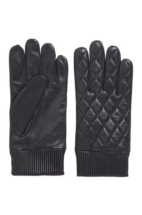 Handschuhe aus Nappaleder mit leicht gewachstem Finish, Schwarz