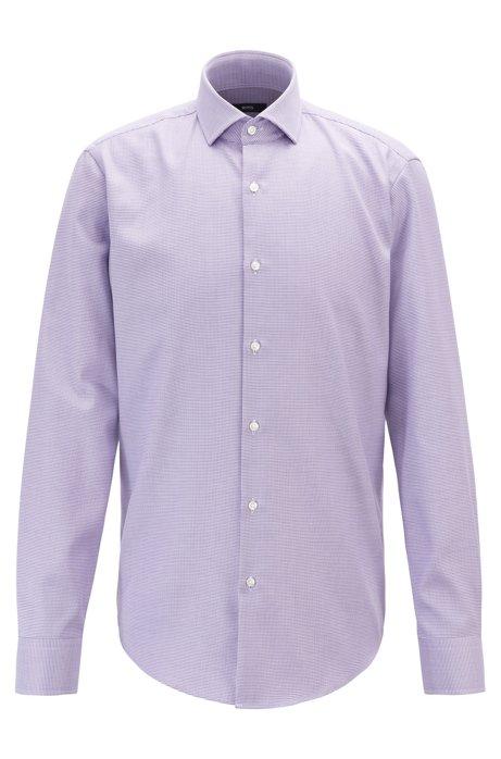 Micro-structured regular-fit shirt with aloe vera finish, Purple