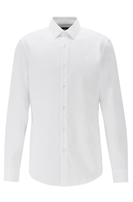 Slim-fit shirt in stain-resistant structured Swiss cotton, White