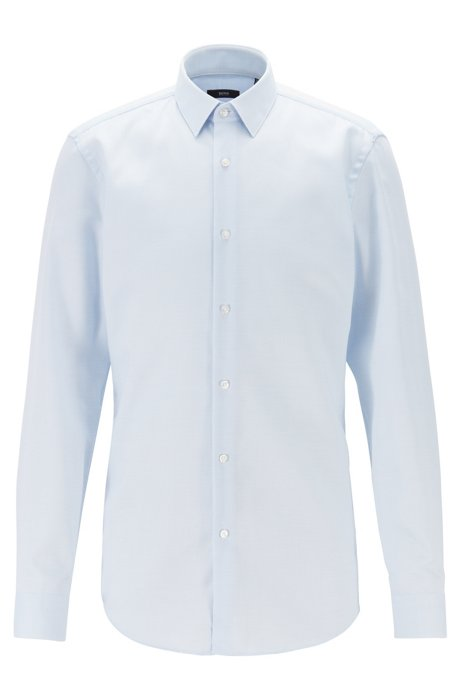 Slim-fit shirt in stain-resistant structured Swiss cotton, Light Blue