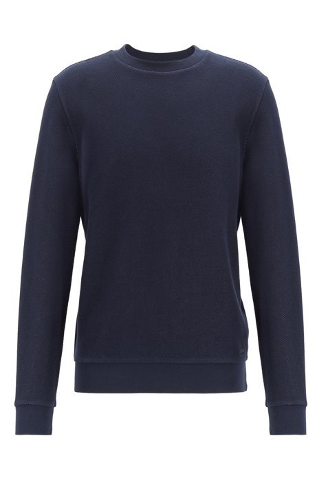 Two-tone sweatshirt in structured cotton, Dark Blue