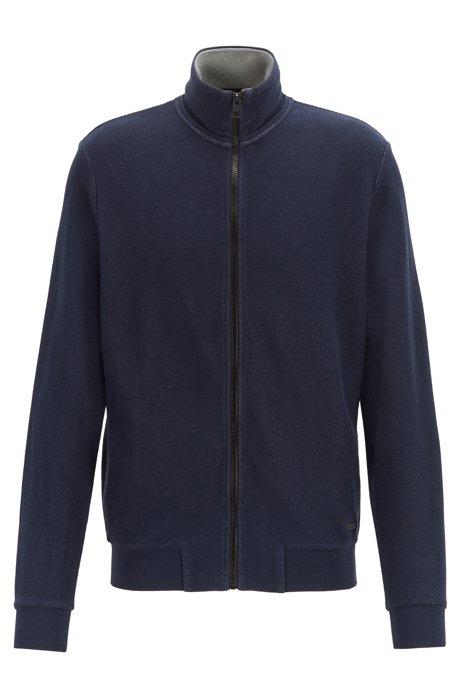 Zip-through jacket in two-tone structured cotton, Dark Blue