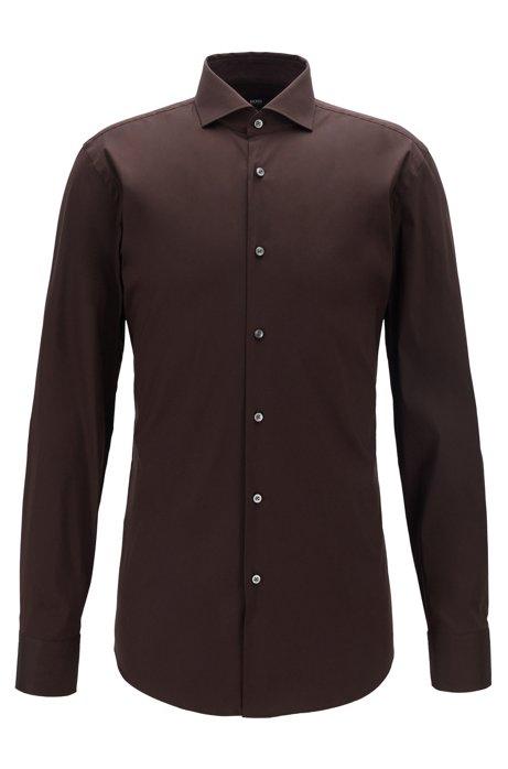 Travel Line slim-fit shirt in a stretch cotton blend, Dark Brown