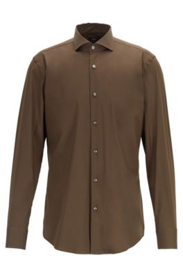 Travel Line Slim-Fit Hemd aus Stretch-Popeline, Hellgrün