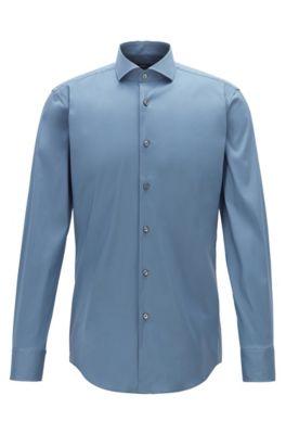 Travel Line Slim-Fit Hemd aus Stretch-Popeline, Blau