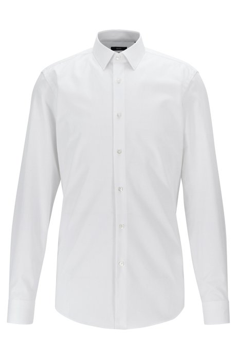 Chemise Slim Fit à rayures structurées, issue de la collection Travel Line, Blanc