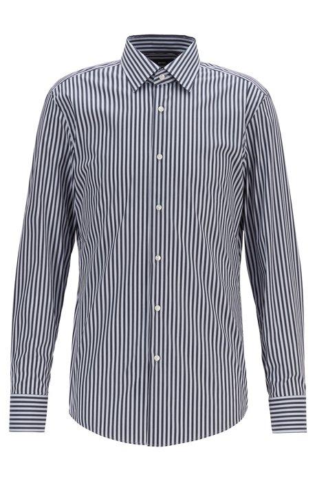 Travel Line striped slim-fit shirt in stretch fil-à-fil, Dark Blue