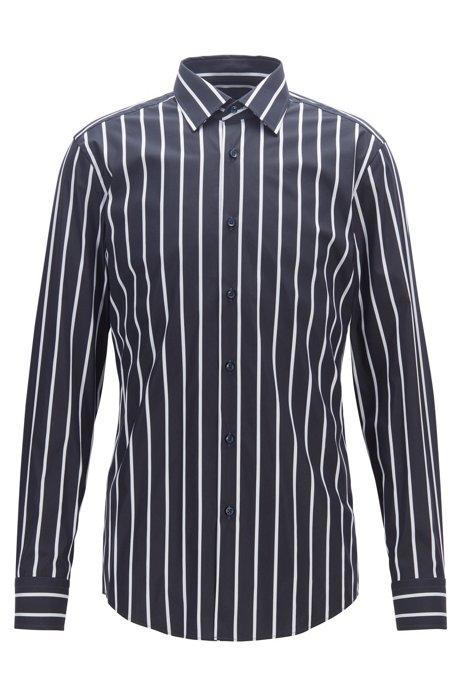 Travel Line slim-fit shirt with twill stripes, Dark Blue