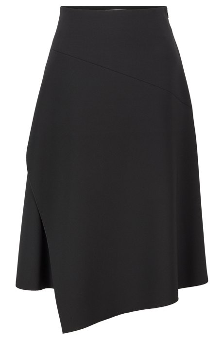Regular-fit high-waisted skirt with layered front, Black