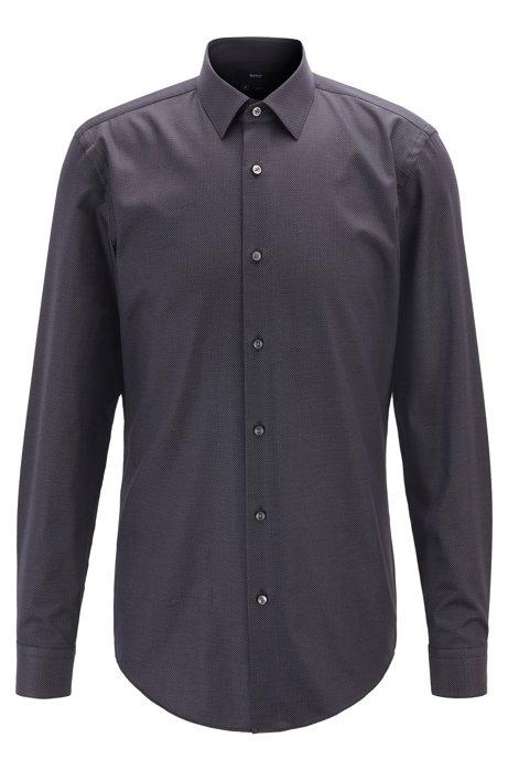 Camisa slim fit de algodón elástico con microlunares, Negro
